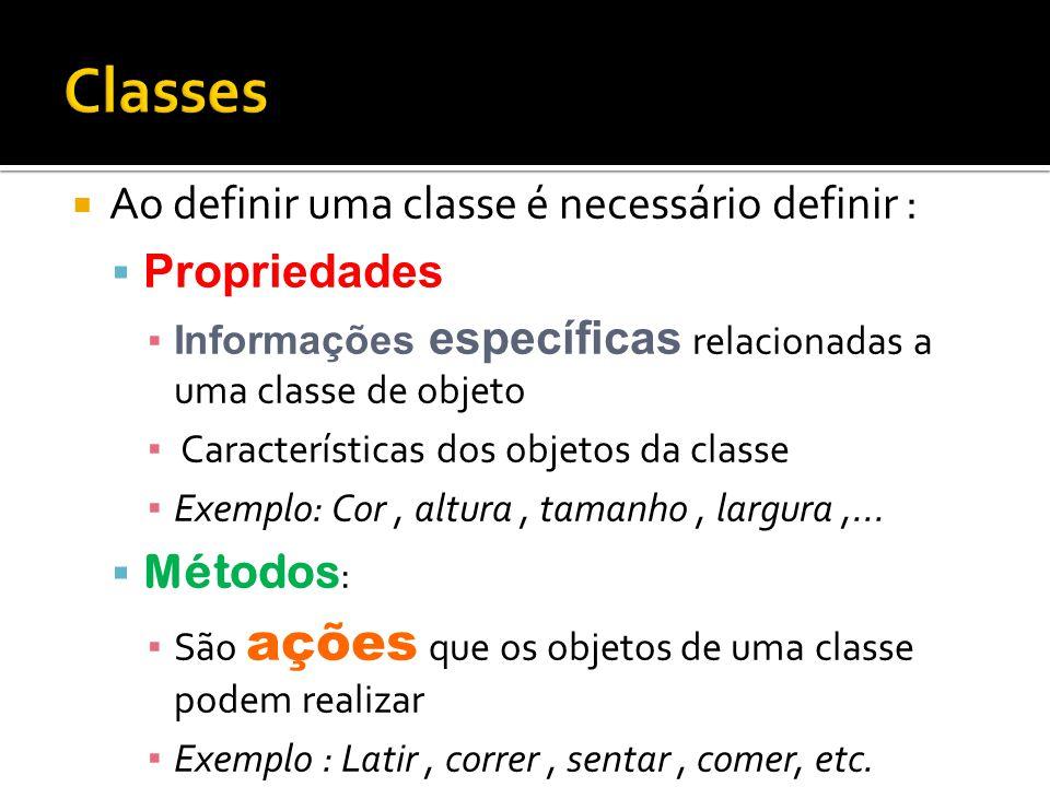 Classes Ao definir uma classe é necessário definir : Propriedades