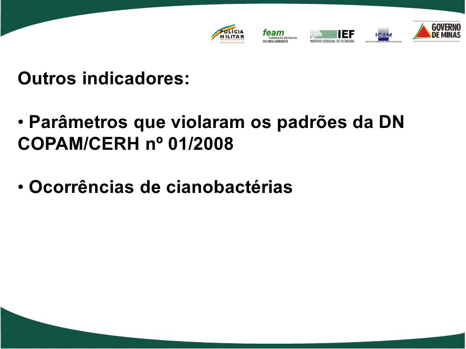 Parâmetros que violaram os padrões da DN COPAM/CERH nº 01/2008