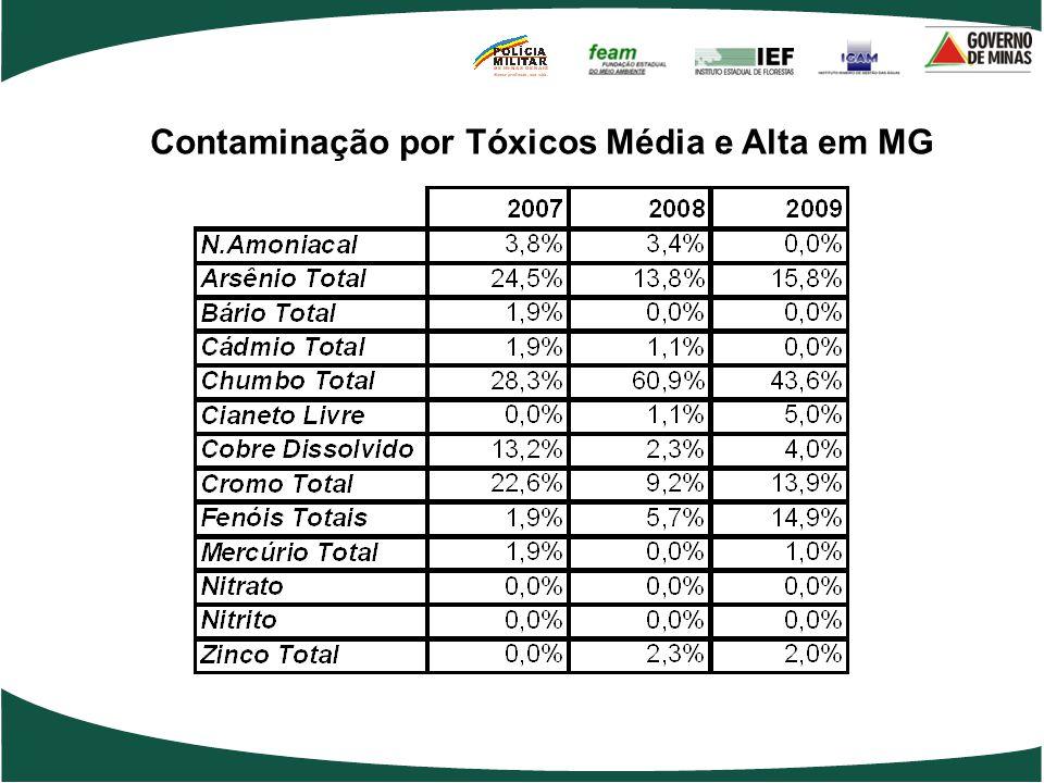 Contaminação por Tóxicos Média e Alta em MG