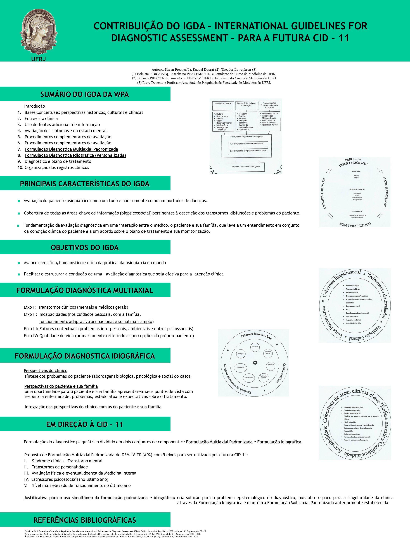 Introdução Bases Conceituais: perspectivas históricas, culturais e clínicas. Entrevista clínica. Uso de fontes adicionais de informação.