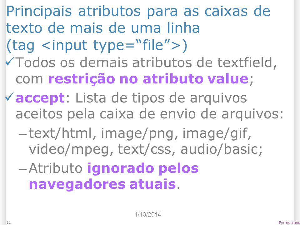 Principais atributos para as caixas de texto de mais de uma linha (tag <input type= file >)