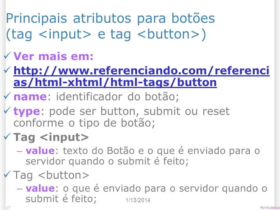 Principais atributos para botões (tag <input> e tag <button>)