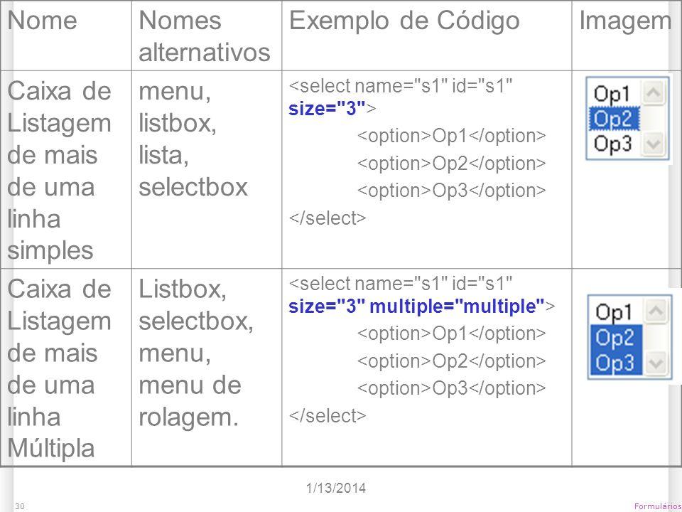 Caixa de Listagem de mais de uma linha simples