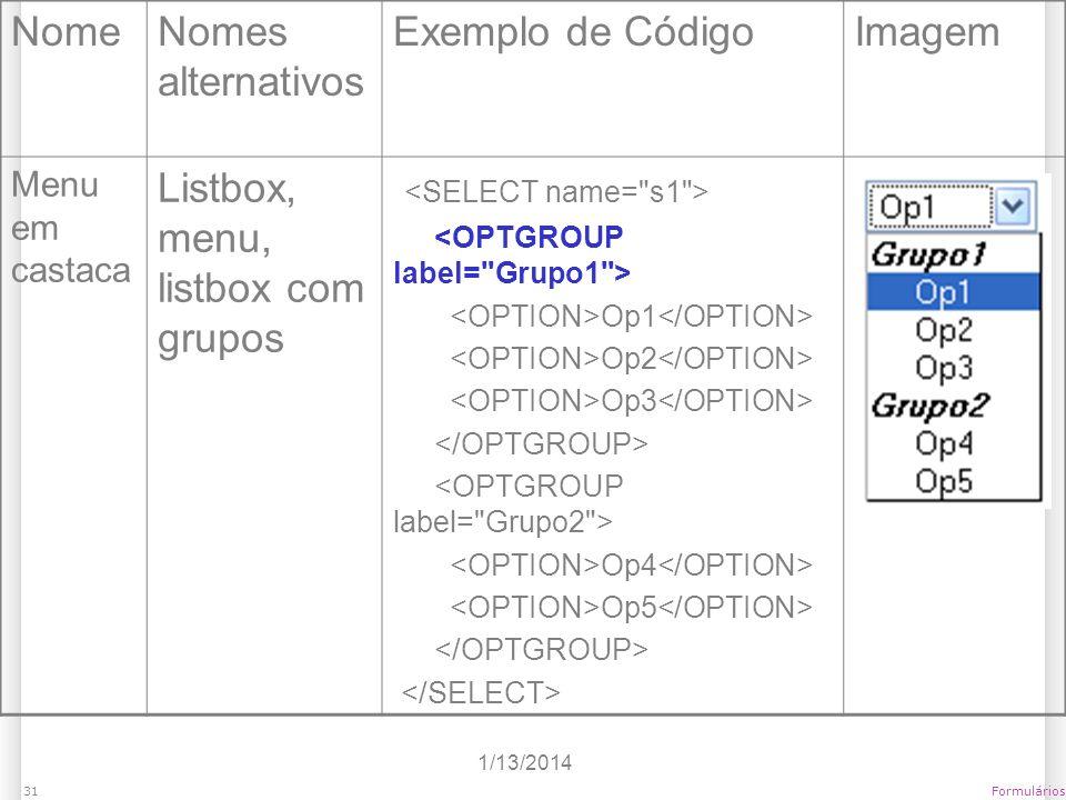 Listbox, menu, listbox com grupos <SELECT name= s1 >