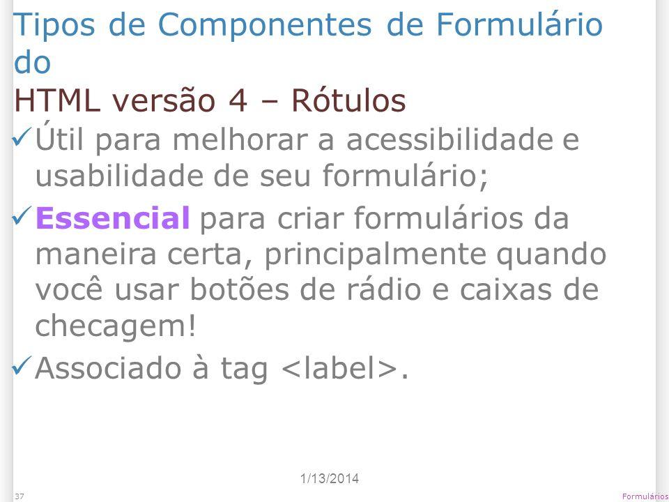 Tipos de Componentes de Formulário do HTML versão 4 – Rótulos