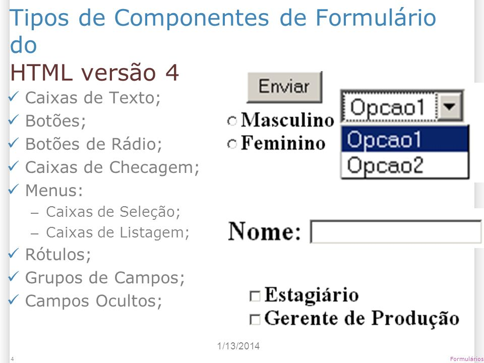 Tipos de Componentes de Formulário do HTML versão 4