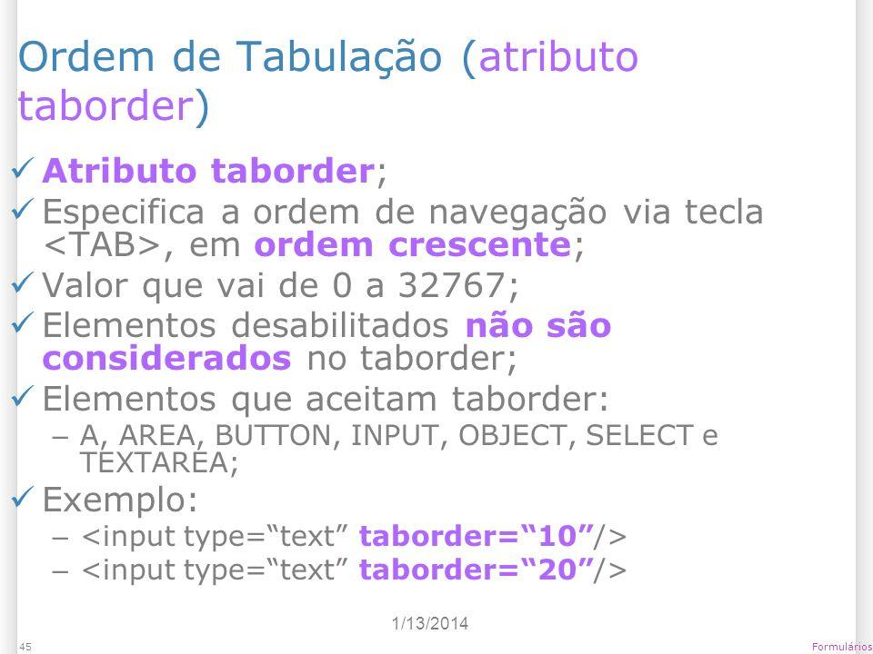Ordem de Tabulação (atributo taborder)