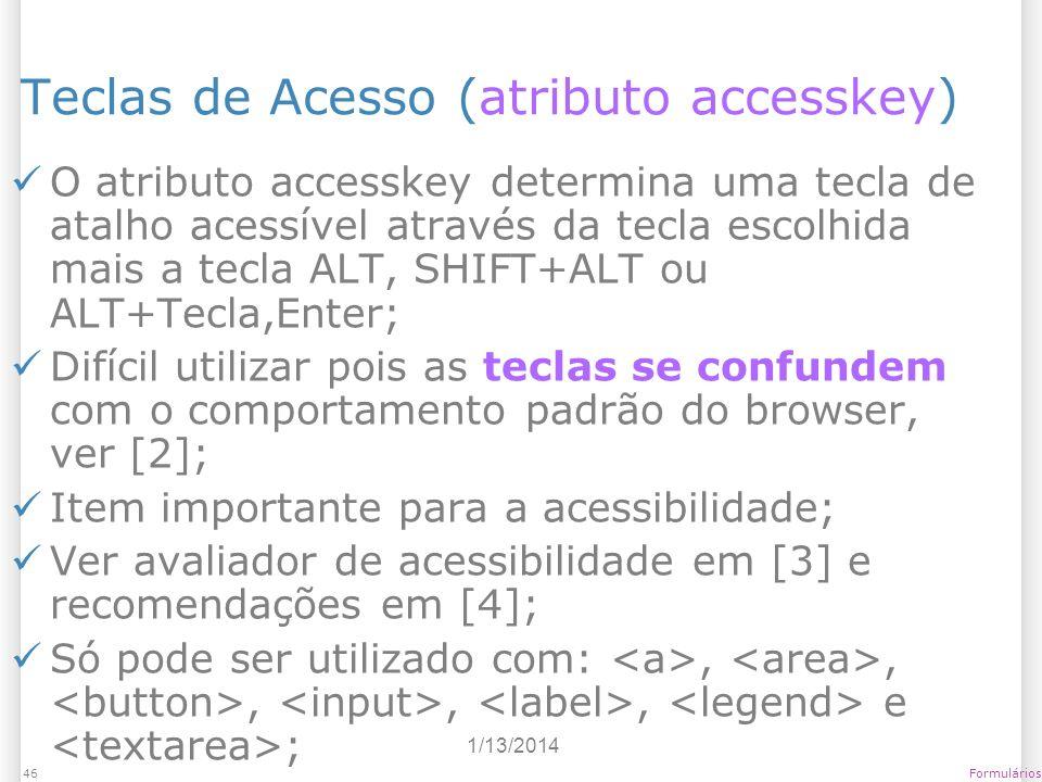 Teclas de Acesso (atributo accesskey)