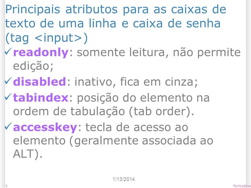 Principais atributos para as caixas de texto de uma linha e caixa de senha (tag <input>)