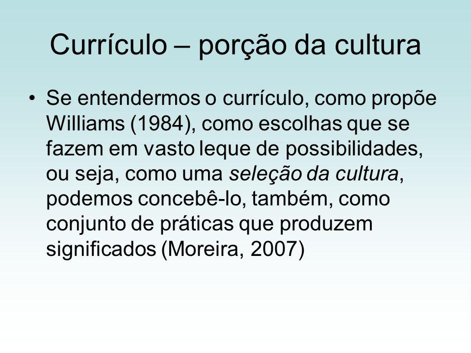 Currículo – porção da cultura