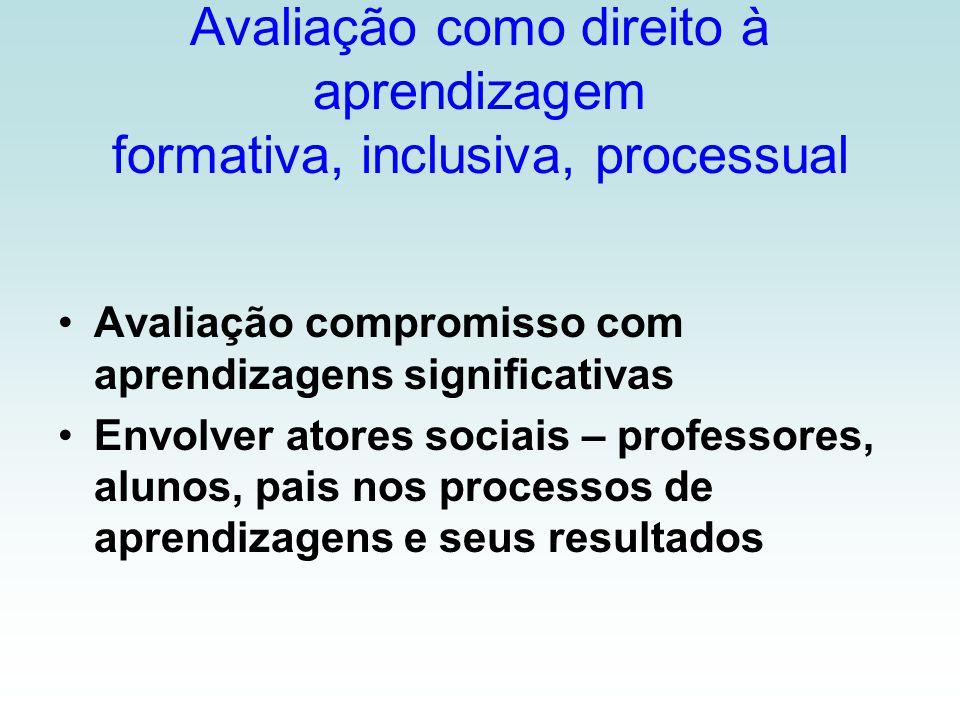 Avaliação como direito à aprendizagem formativa, inclusiva, processual