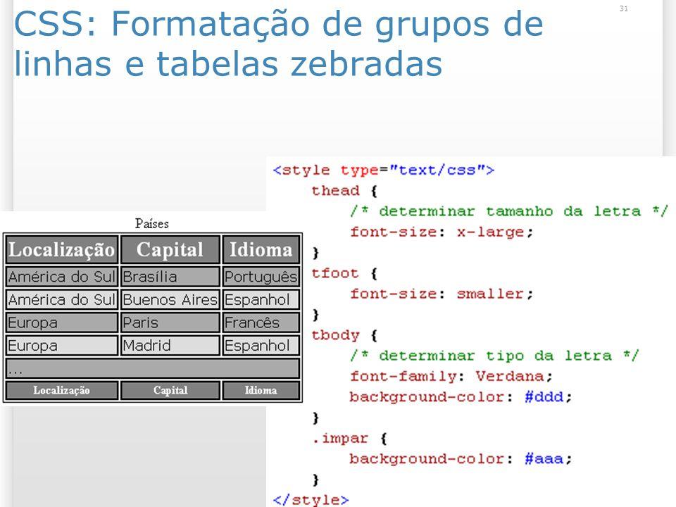 CSS: Formatação de grupos de linhas e tabelas zebradas