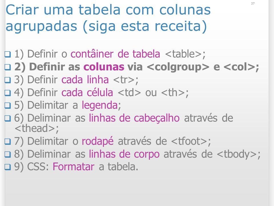 Criar uma tabela com colunas agrupadas (siga esta receita)