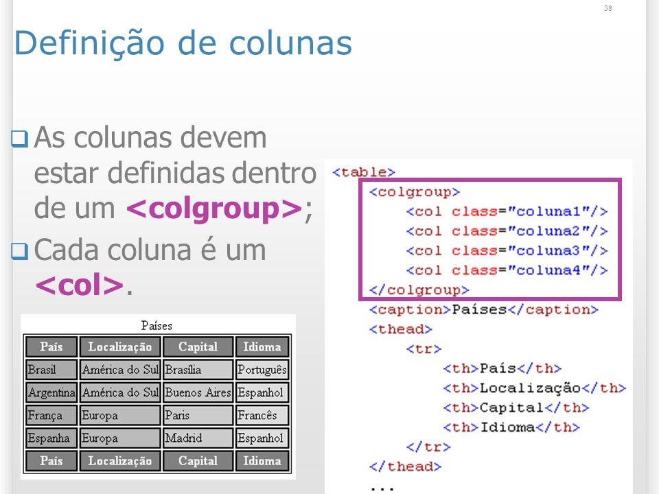 Definição de colunas25/03/2017. As colunas devem estar definidas dentro de um <colgroup>; Cada coluna é um <col>.