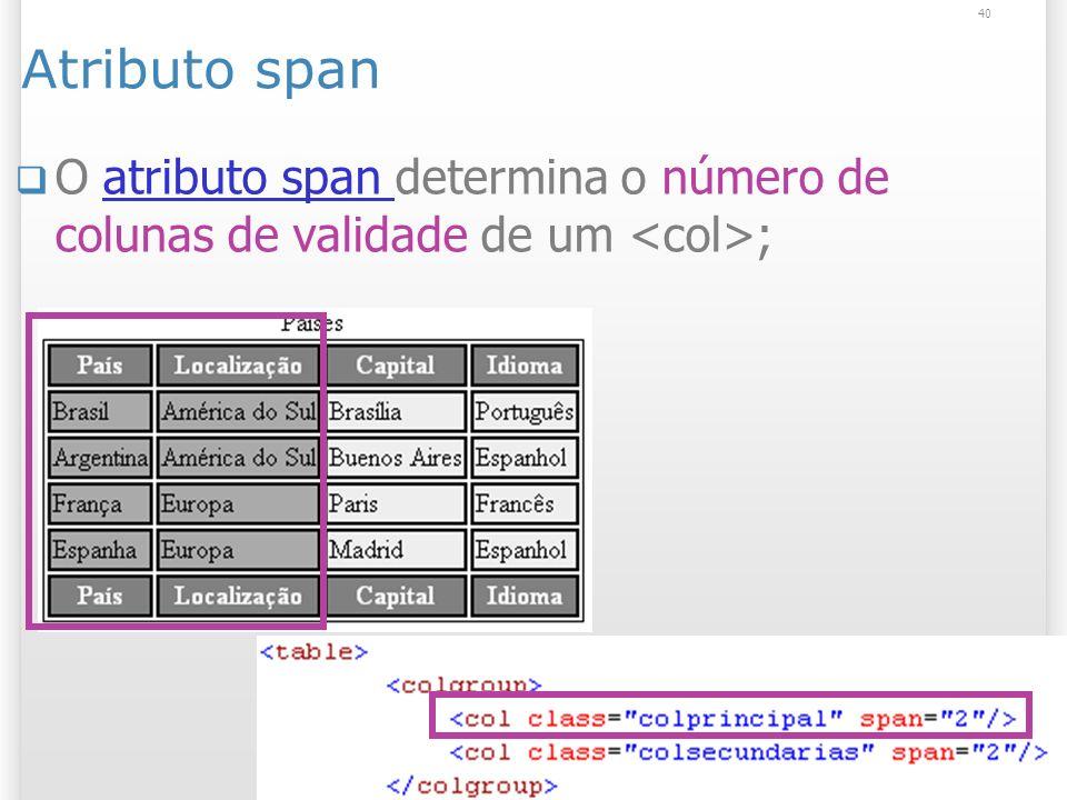 Atributo span O atributo span determina o número de colunas de validade de um <col>;