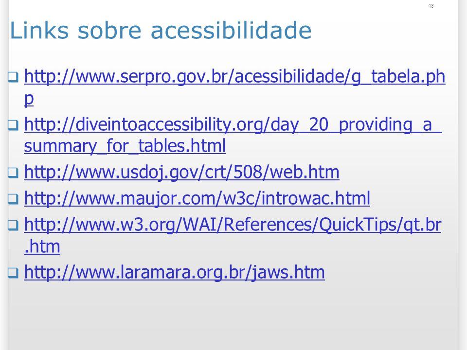 Links sobre acessibilidade