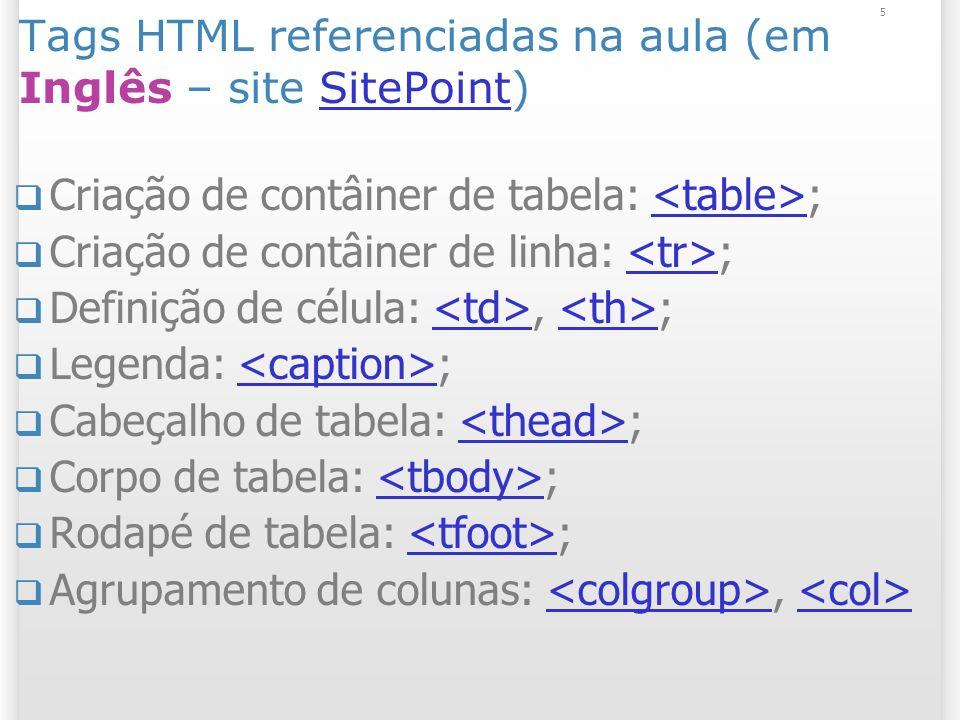Tags HTML referenciadas na aula (em Inglês – site SitePoint)