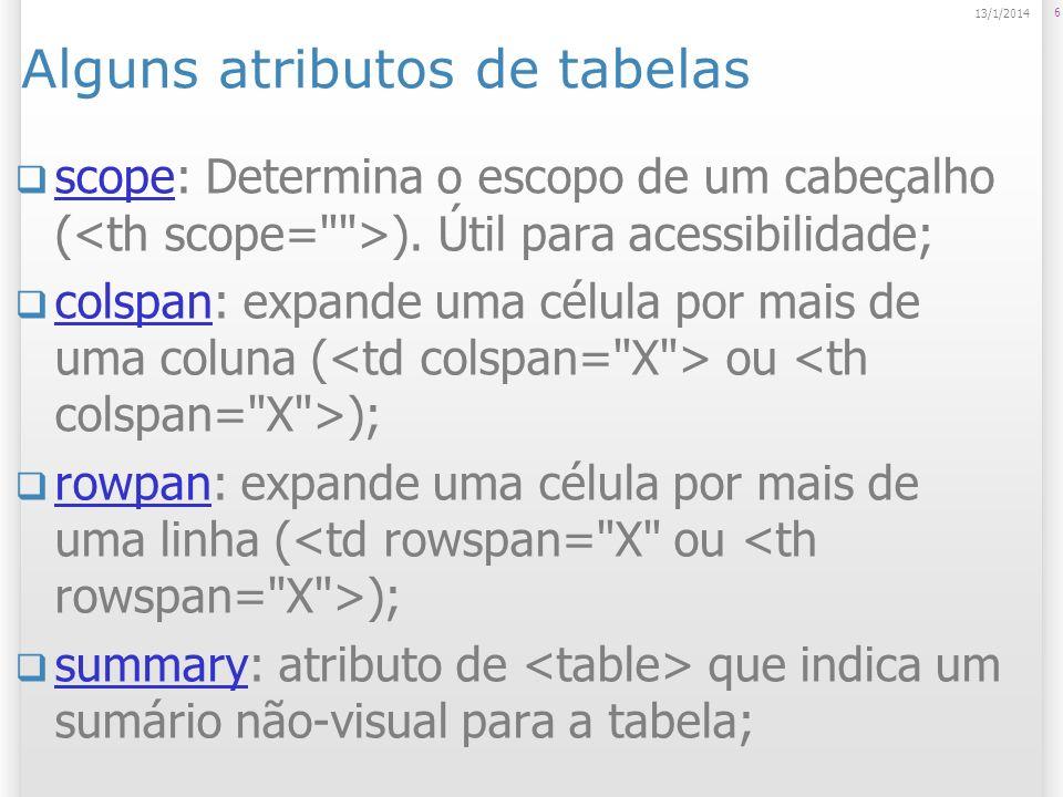 Alguns atributos de tabelas