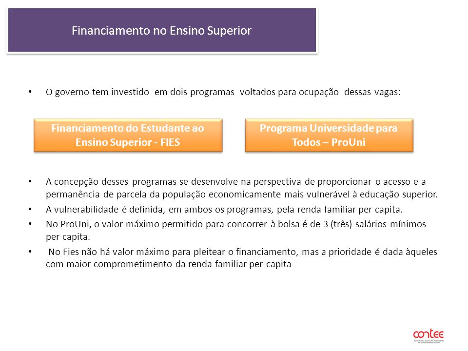 Financiamento no Ensino Superior