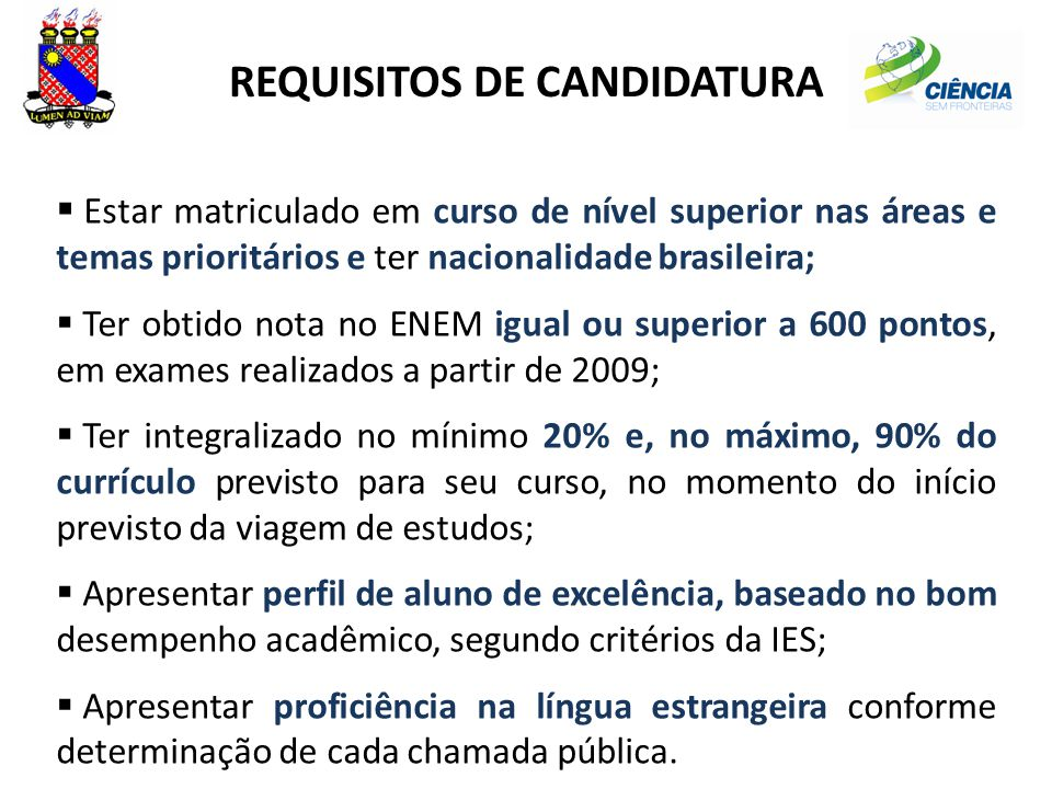 REQUISITOS DE CANDIDATURA