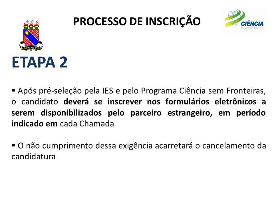 ETAPA 2 PROCESSO DE INSCRIÇÃO