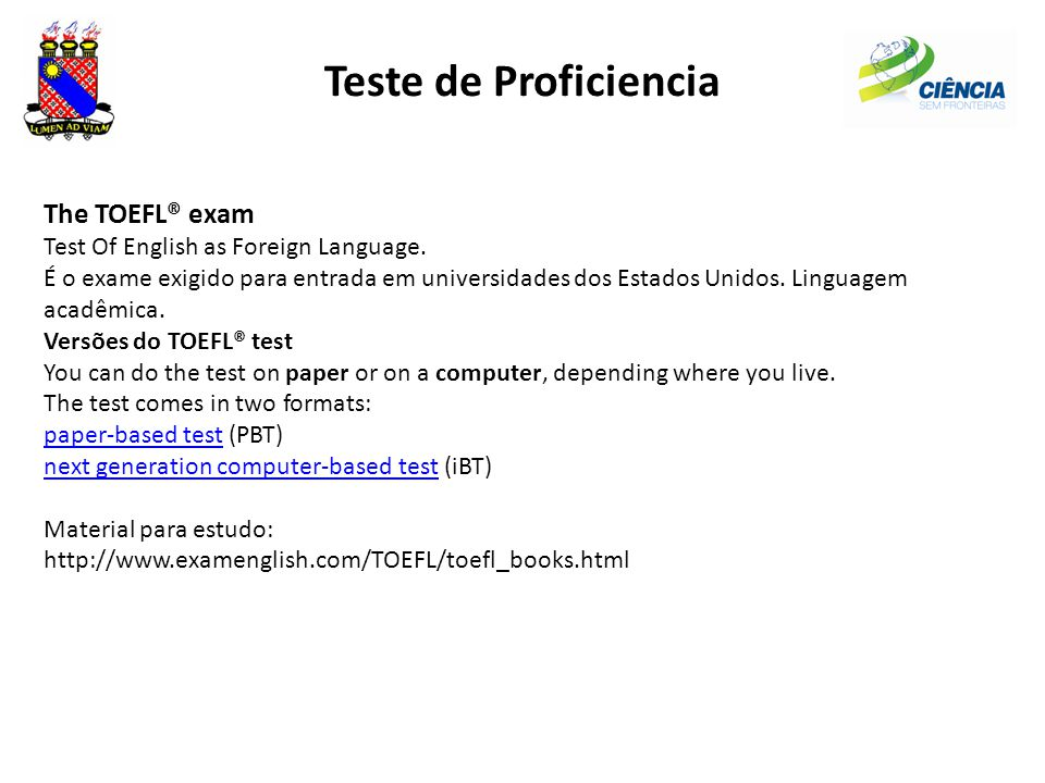 Teste de Proficiencia The TOEFL® exam