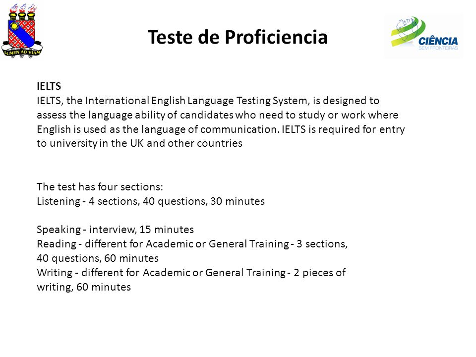 Teste de Proficiencia IELTS