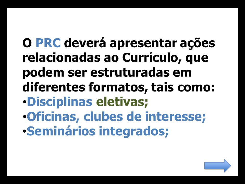 O PRC deverá apresentar ações relacionadas ao Currículo, que podem ser estruturadas em diferentes formatos, tais como: