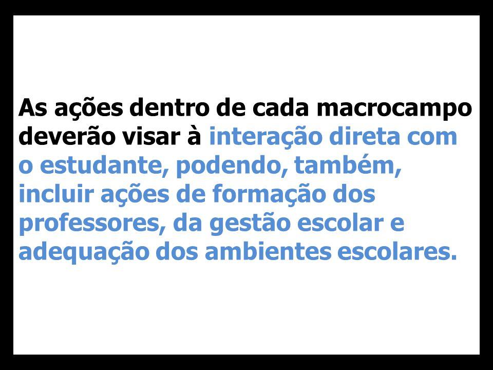 As ações dentro de cada macrocampo deverão visar à interação direta com o estudante, podendo, também, incluir ações de formação dos professores, da gestão escolar e adequação dos ambientes escolares.