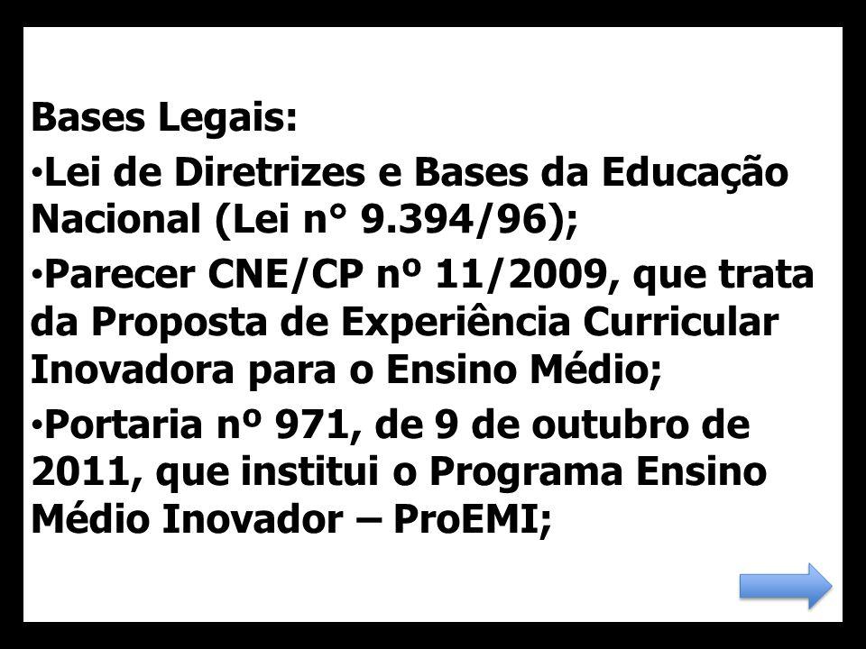Bases Legais: Lei de Diretrizes e Bases da Educação Nacional (Lei n° 9.394/96);