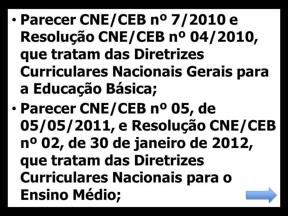 Parecer CNE/CEB nº 7/2010 e Resolução CNE/CEB nº 04/2010, que tratam das Diretrizes Curriculares Nacionais Gerais para a Educação Básica;