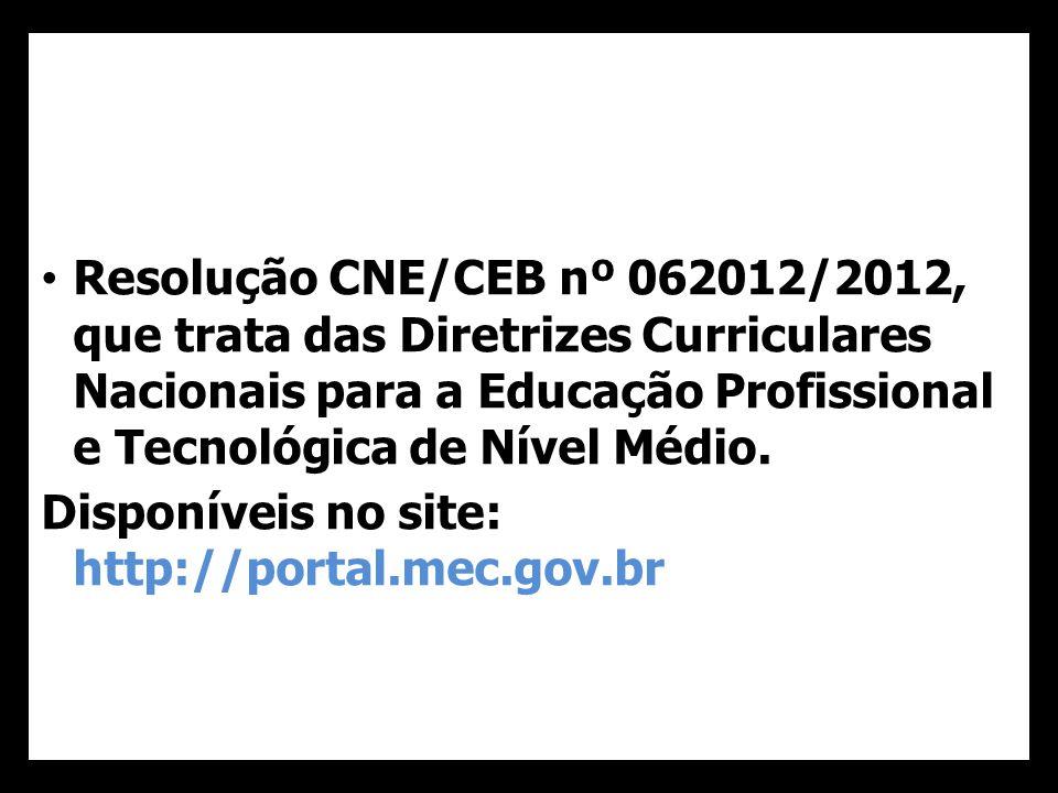 Resolução CNE/CEB nº 062012/2012, que trata das Diretrizes Curriculares Nacionais para a Educação Profissional e Tecnológica de Nível Médio.