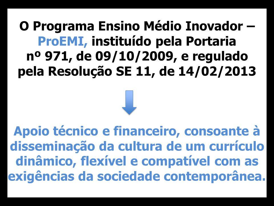 O Programa Ensino Médio Inovador – ProEMI, instituído pela Portaria nº 971, de 09/10/2009, e regulado pela Resolução SE 11, de 14/02/2013