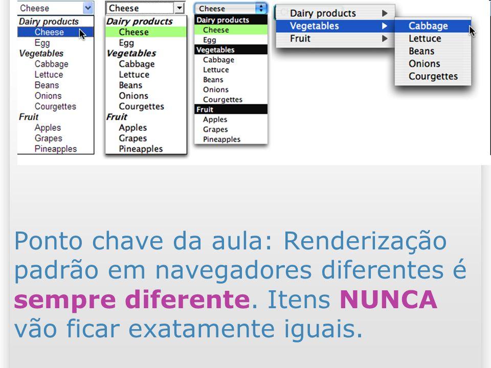 25/03/2017 Ponto chave da aula: Renderização padrão em navegadores diferentes é sempre diferente. Itens NUNCA vão ficar exatamente iguais.