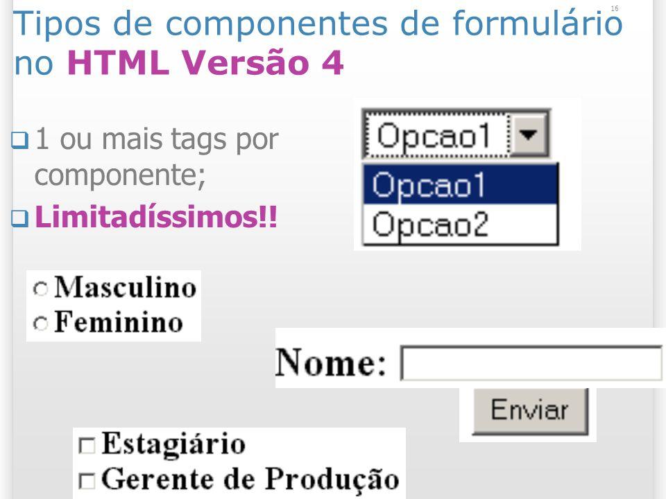 Tipos de componentes de formulário no HTML Versão 4