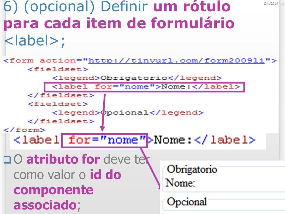 25/03/2017 25/03/2017. 6) (opcional) Definir um rótulo para cada item de formulário <label>;
