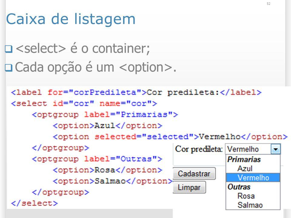 Caixa de listagem <select> é o container;