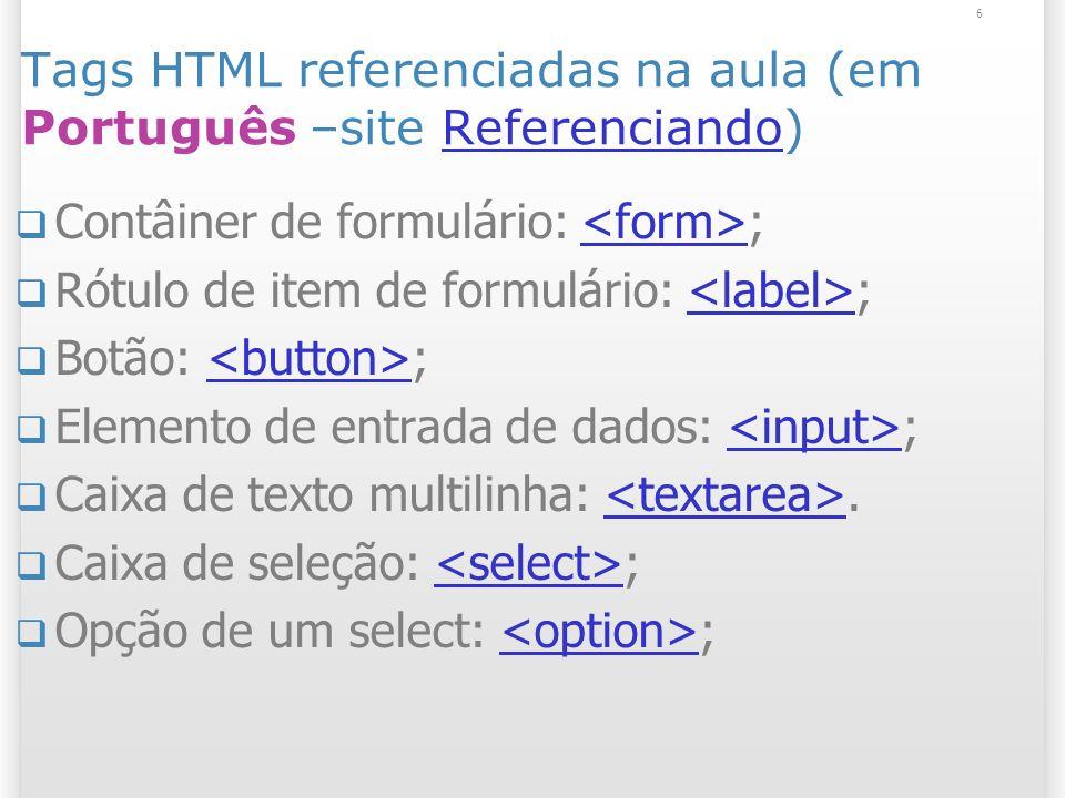 Tags HTML referenciadas na aula (em Português –site Referenciando)