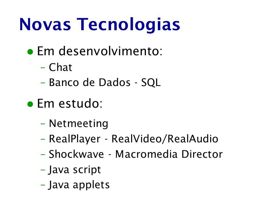 Novas Tecnologias Em desenvolvimento: Em estudo: Chat