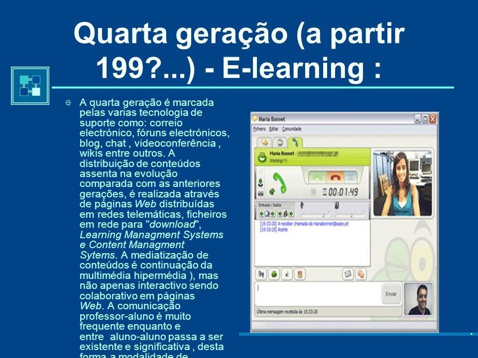 Quarta geração (a partir 199 ...) - E-learning :