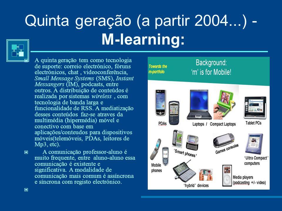 Quinta geração (a partir 2004...) - M-learning: