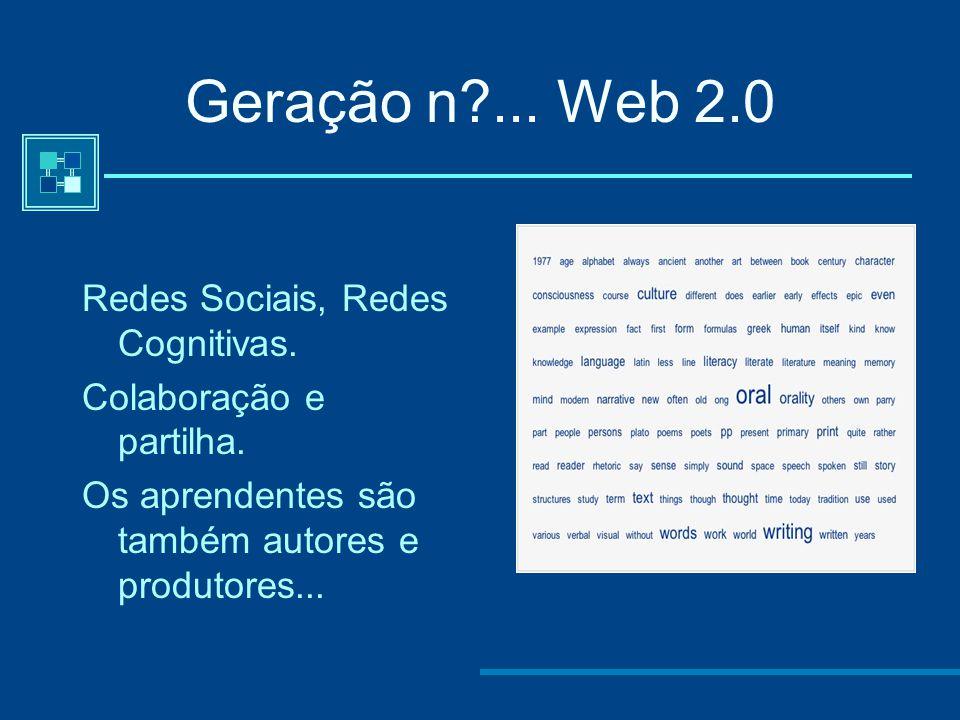 Geração n ... Web 2.0 Redes Sociais, Redes Cognitivas.