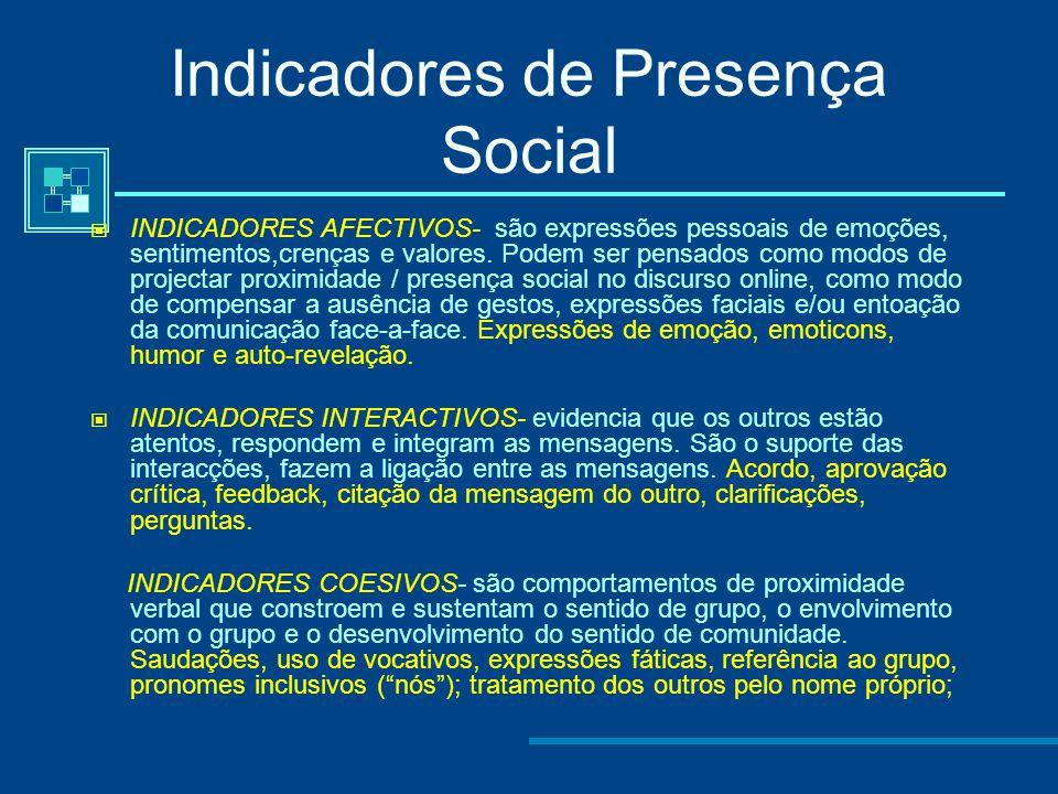 Indicadores de Presença Social