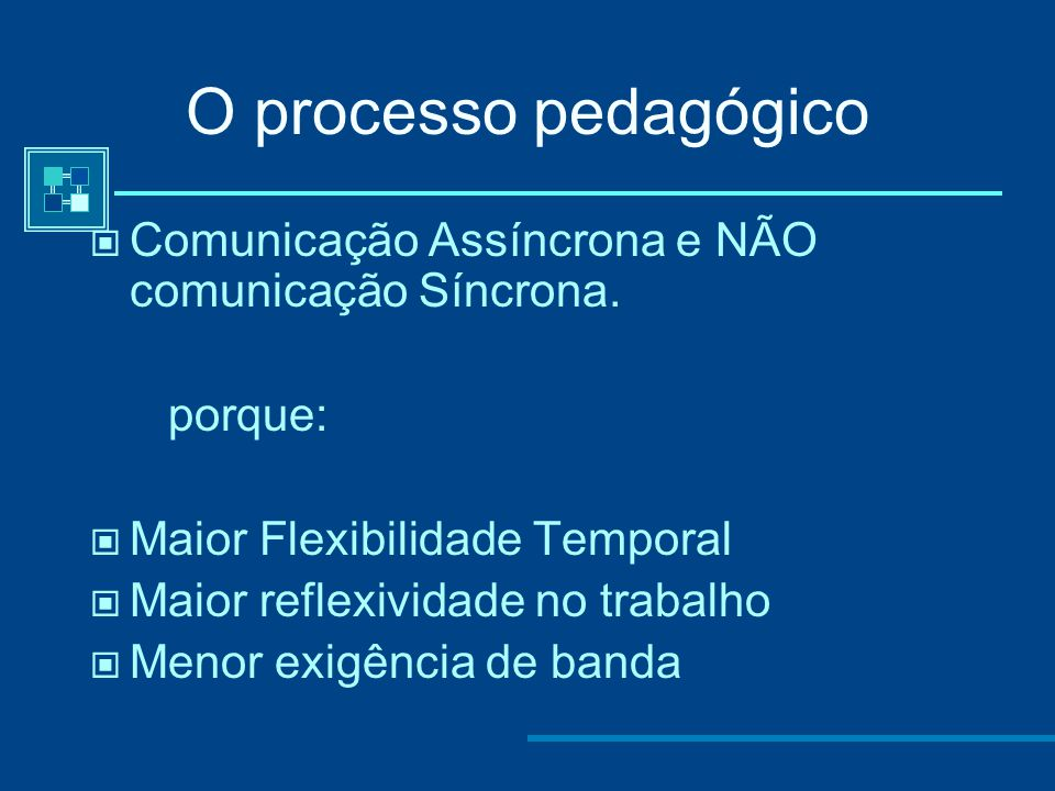 O processo pedagógico Comunicação Assíncrona e NÃO comunicação Síncrona. porque: Maior Flexibilidade Temporal.