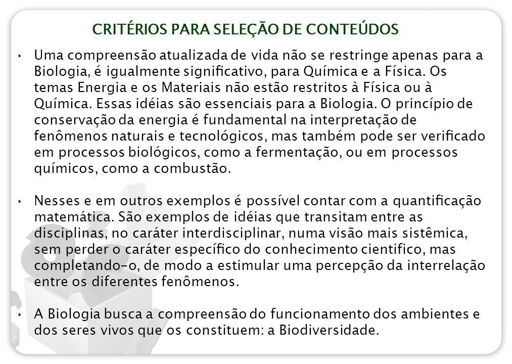 CRITÉRIOS PARA SELEÇÃO DE CONTEÚDOS