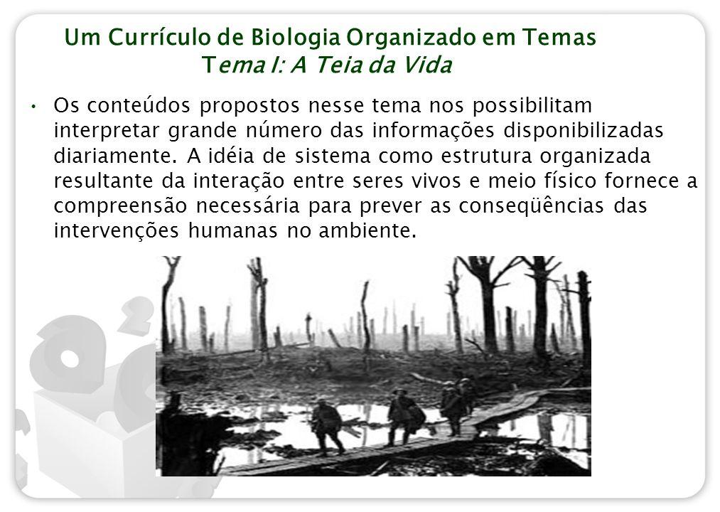 Um Currículo de Biologia Organizado em Temas Tema I: A Teia da Vida