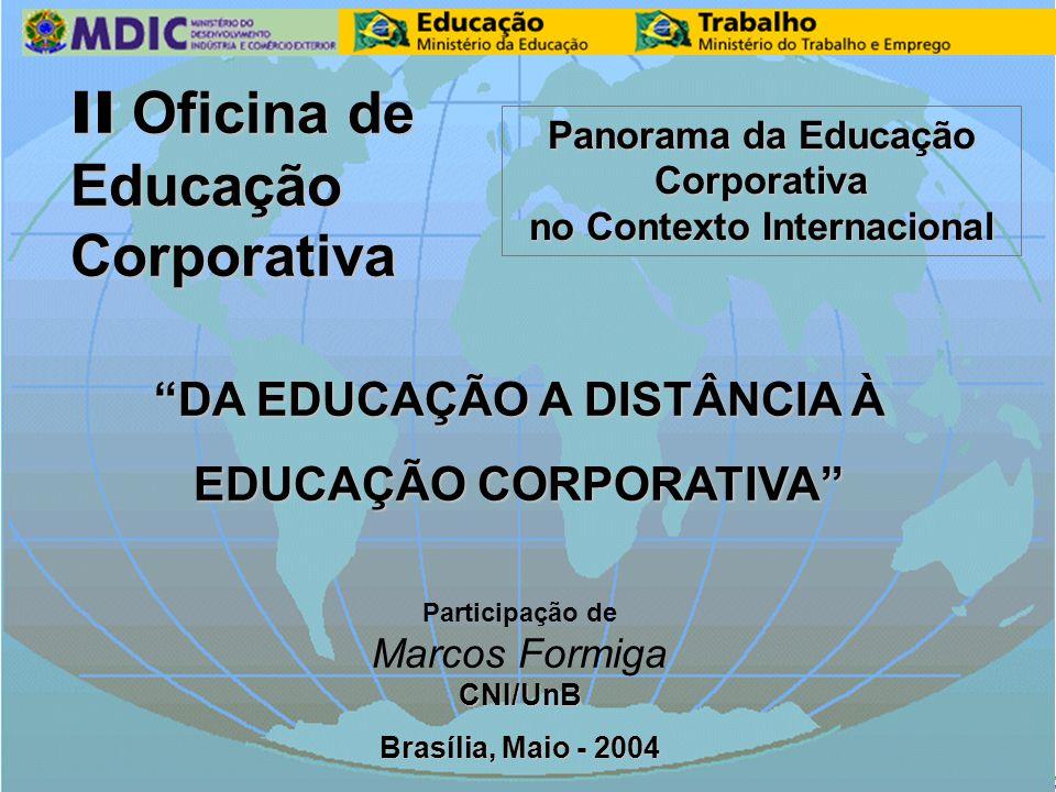 II Oficina de Educação Corporativa DA EDUCAÇÃO A DISTÂNCIA À