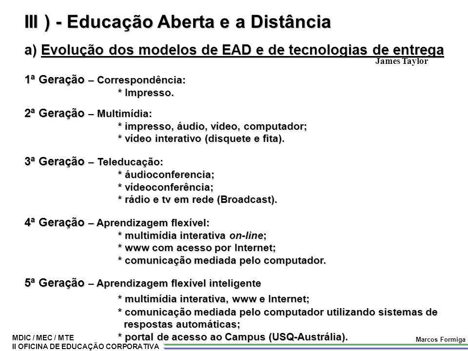 III ) - Educação Aberta e a Distância