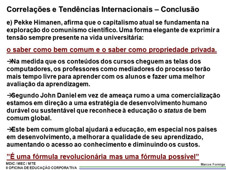 Correlações e Tendências Internacionais – Conclusão