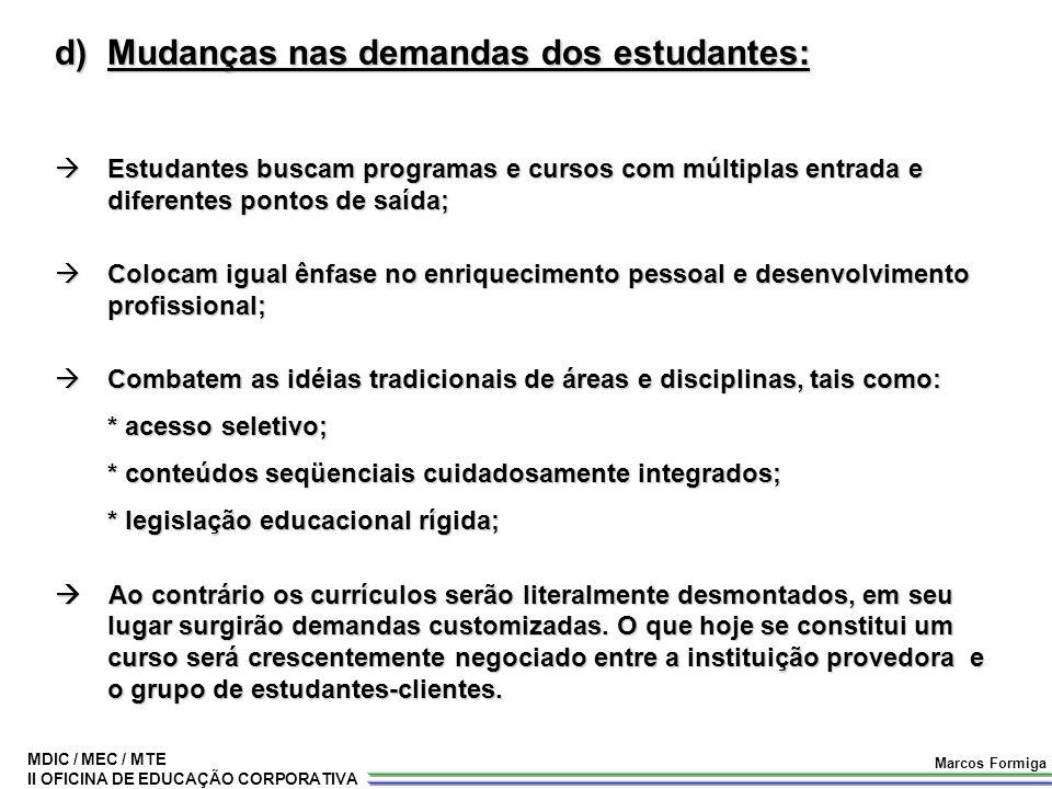 Mudanças nas demandas dos estudantes: